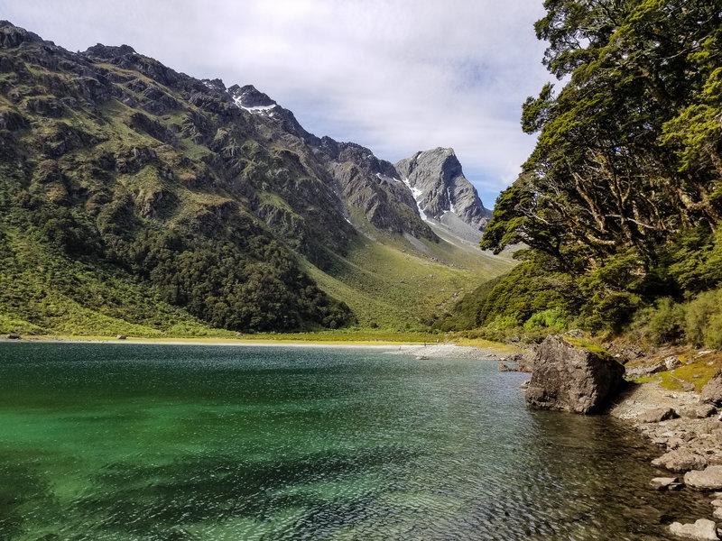 Lake Mackenzie and the green slopes of Ocean Peak