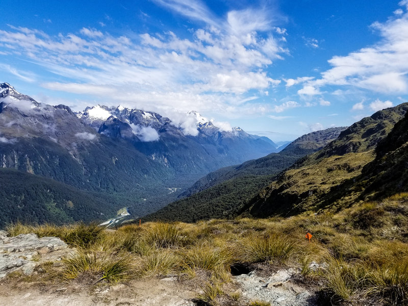 On a clear day, you can see the ocean from the Routeburn Track