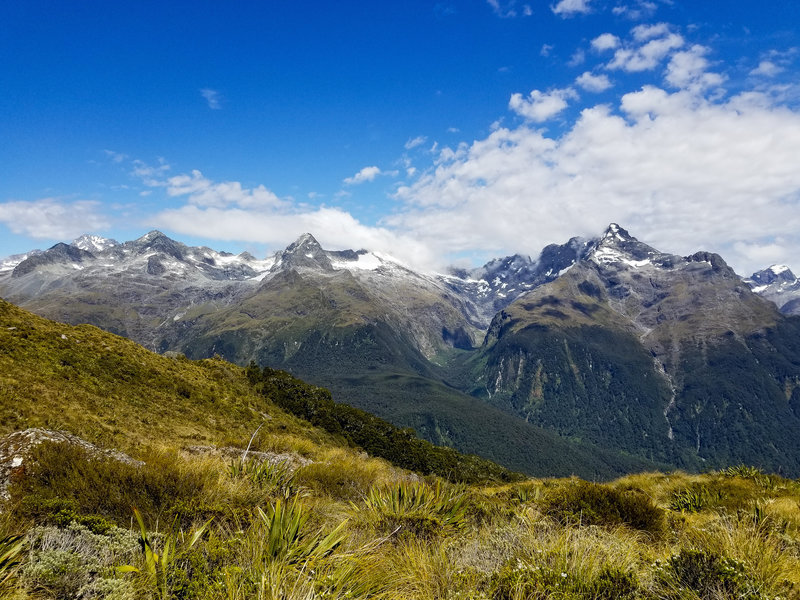 View across the Hollyford Valley onto the snowy mountain ridge