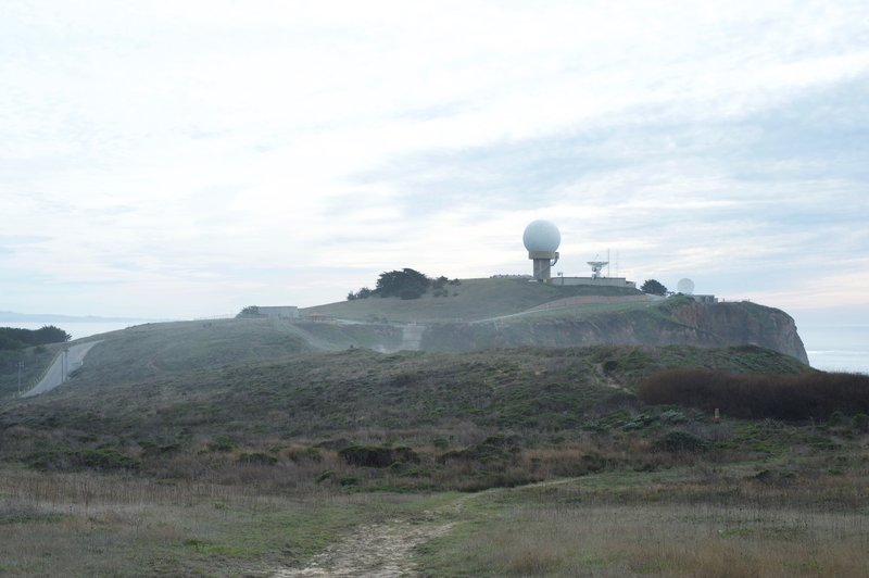 The Pillar Point Air Force Station sits on the bluff in the distance.