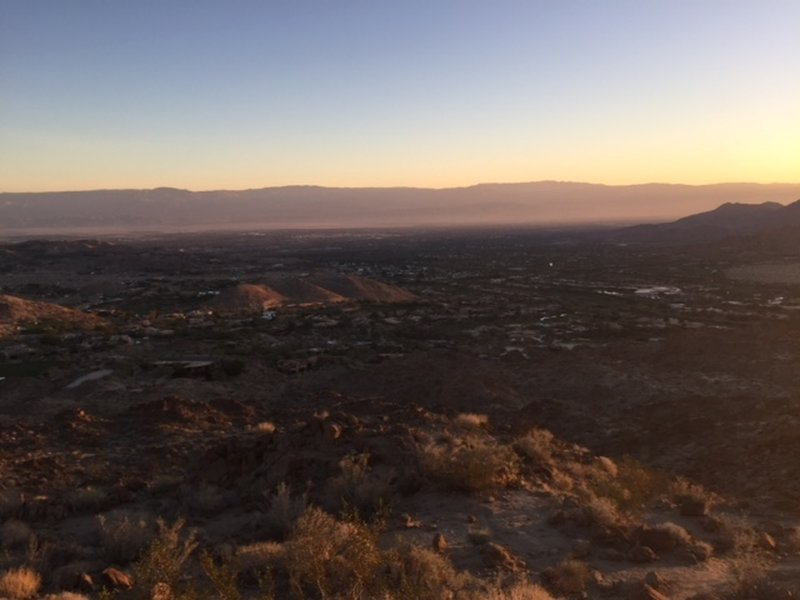 Looking Northeast over Palm Desert just before the intersection of the Art Smith Trail and the Hopalong Cassicy Trail.