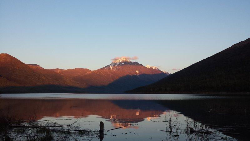 View of Bold Peak across Eklutna Lake.