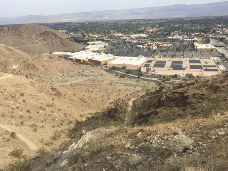 """A view of the Desert Crossing Shopping Center where the hike either ends or begins. This is also the starting point for the popular """"Bump and Grind Trail""""."""