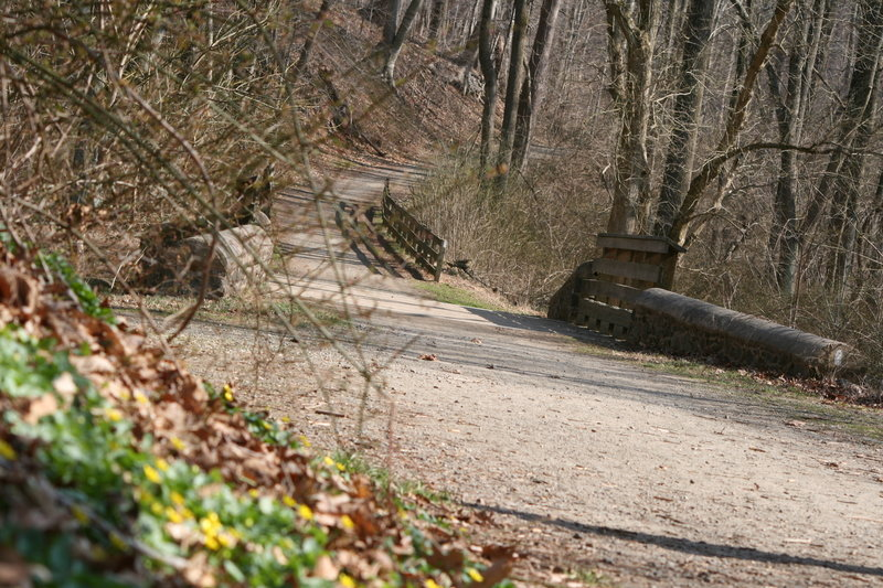This is the wide, gravel bike path near the intersection of the Brandywine Trail, Rocky Run, and the Rocky Run picnic tables.