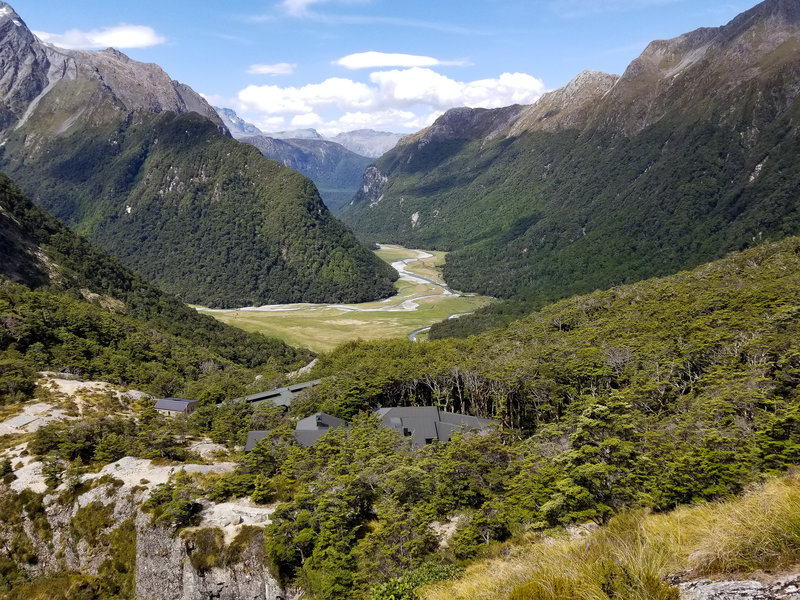 Dart Valley with the Routeburn Falls Lodge overlooking the valley