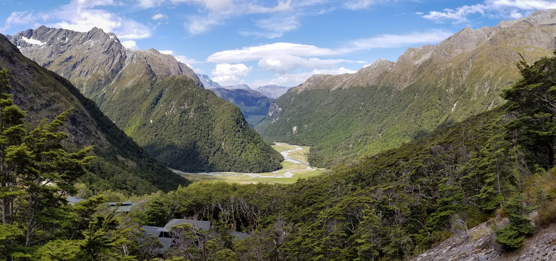Panorama of Dart Valley from Routeburn Falls