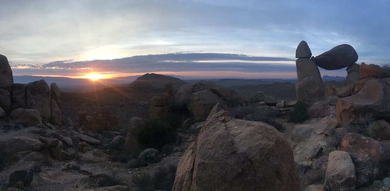 Balanced Rock is one of the top sunrise hikes! With views to the east the mountains of Sierra del Carmen light up a spectacular purple. Contrasted with the light, bouldered desert landscape it is a sight to behold.