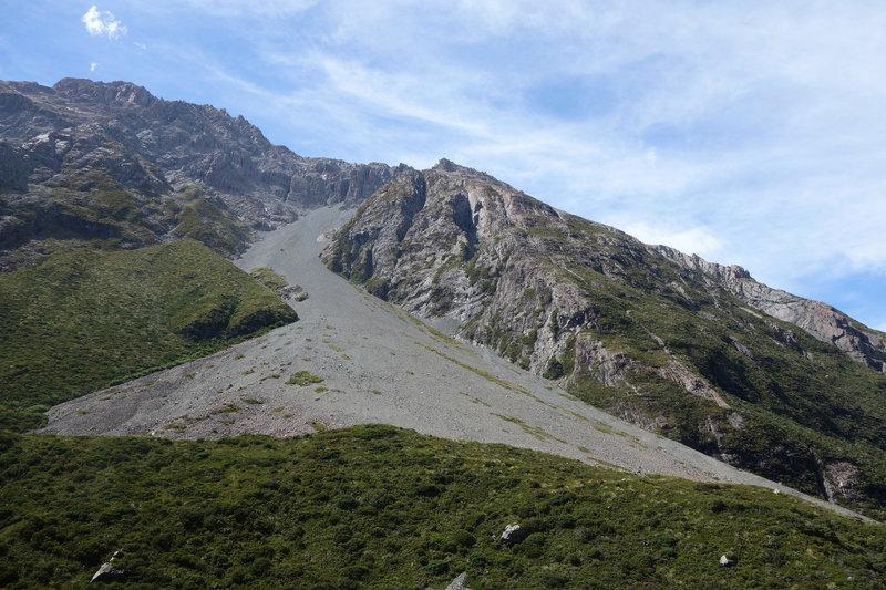 Gravel slide in Hooker Valley