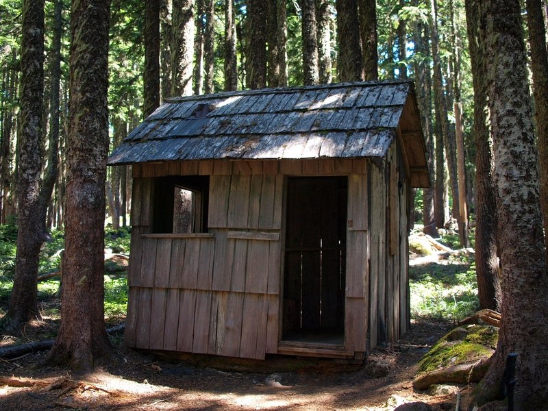 A storage shed at the top of the Herman Cutoff Trail