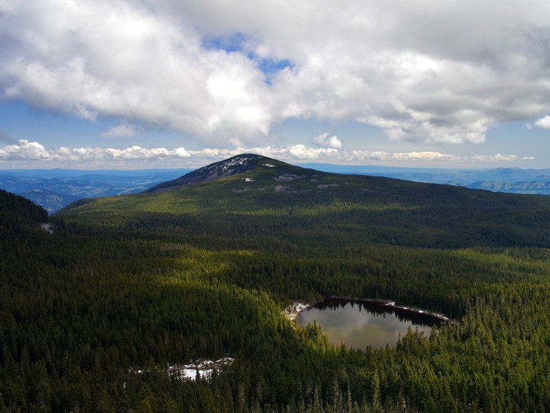 Mount Defiance and North Lake from Green Point Mountain.