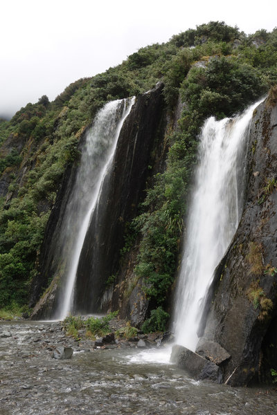Pair of waterfalls along the Franz Josef Glacier Valley Track