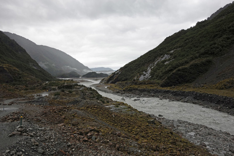 Franz Josef Glacier Valley and the Waiho River on a moody day