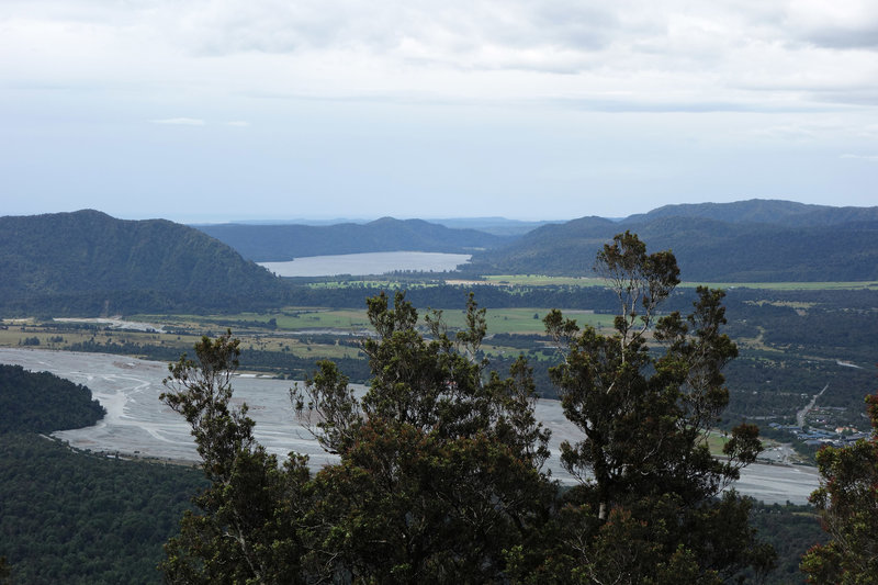 Christmas Overlook on the Alex Knob Track showing the Waiho riverbed with Lake Mapourika in the distance