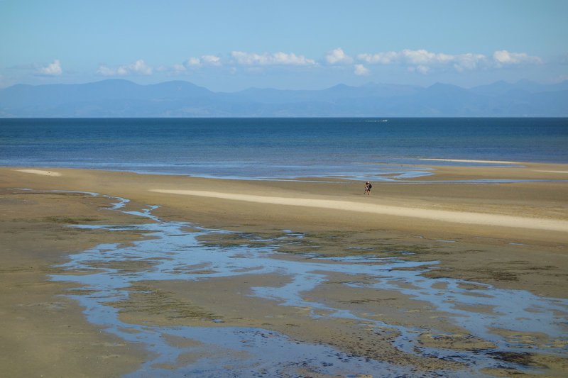 Couple exploring shallow Porters Beach beyond the Abel Tasman Coast Track