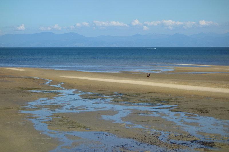 Couple exploring shallow Porters Beach beyond the Abel Tasman Coast Track