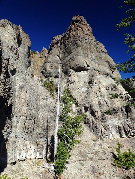 One of the volcanic spires at Standoff Point