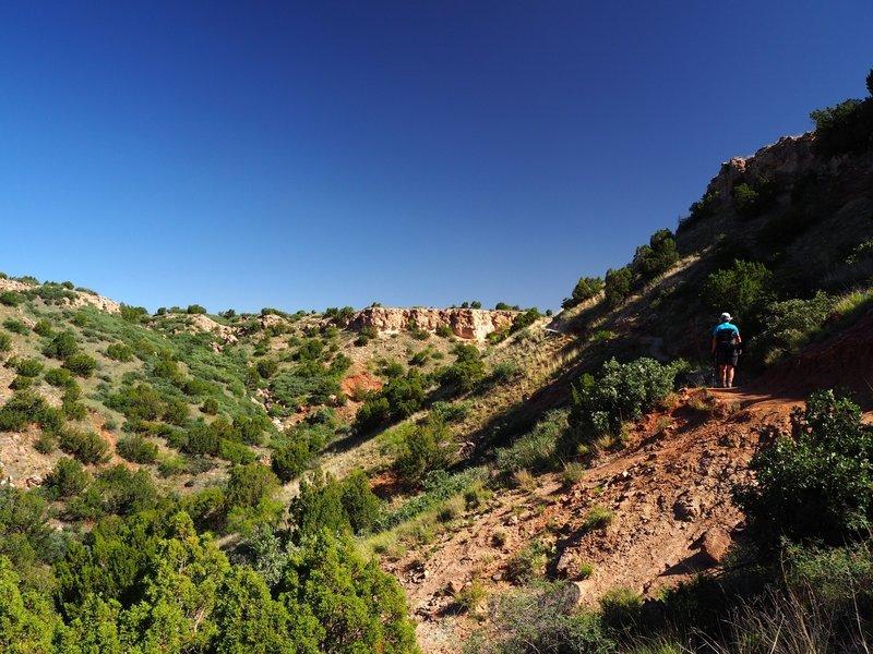 Climbing toward the Fortress Cliff