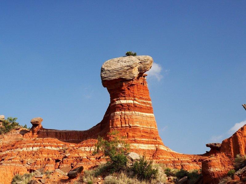 A uniquely colorful rock spire