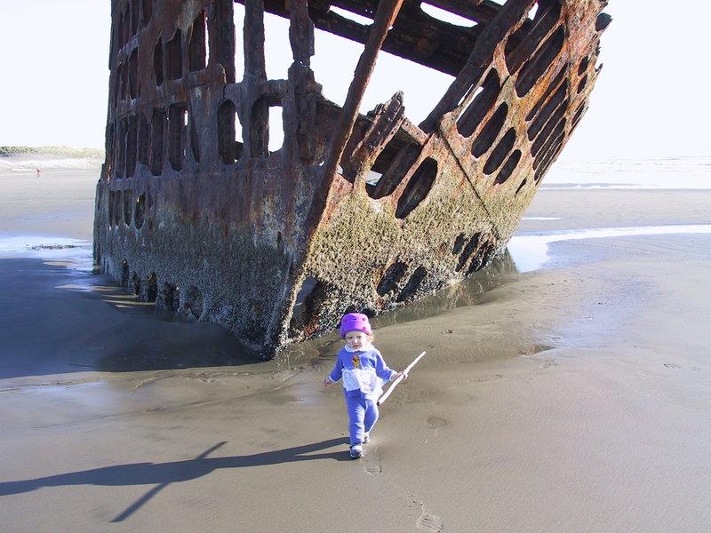 Exploring the wreckage.