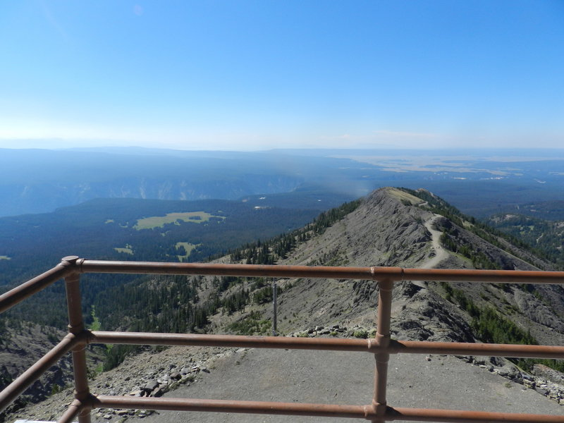 View looking south towards the Grand Canyon, Hayden Valley and Yellowstone Lake on a hazy sunny day in 2015.