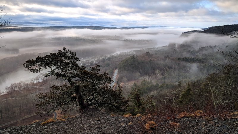 A foggy, late winter morning looking down on the Delaware River and Route 209 from Cliff Park Trail in the Delaware Water Gap National Recreation Area