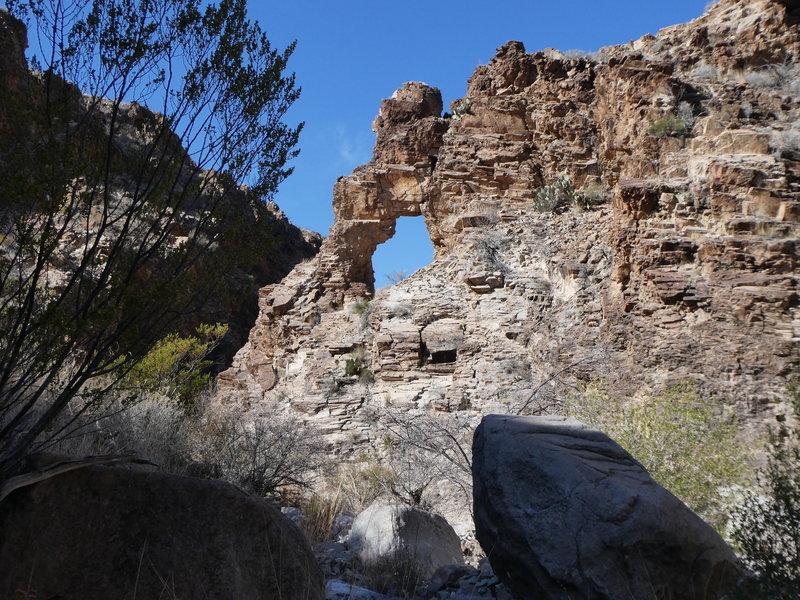 Blue window in the rocks