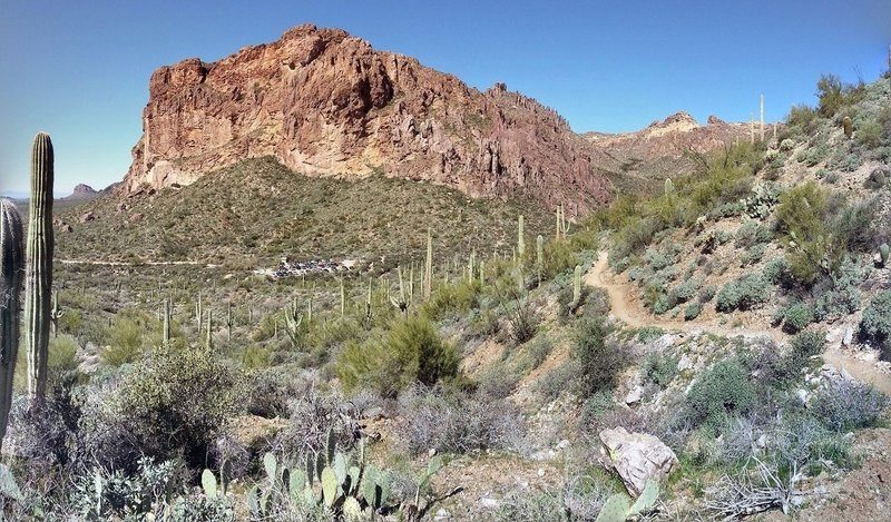 Peralta Road off 60 to Bluff Springs Trail above the parking lot looking back at Superstition Mountain.