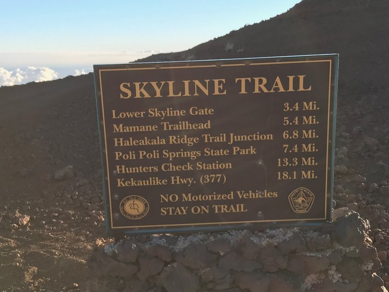 Optional routes from the bottom of the Skyline Trail