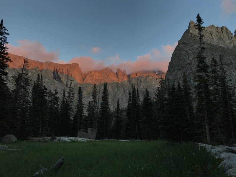 Magic as dusk unfolds on the peaks above the meadow at campsite 11.