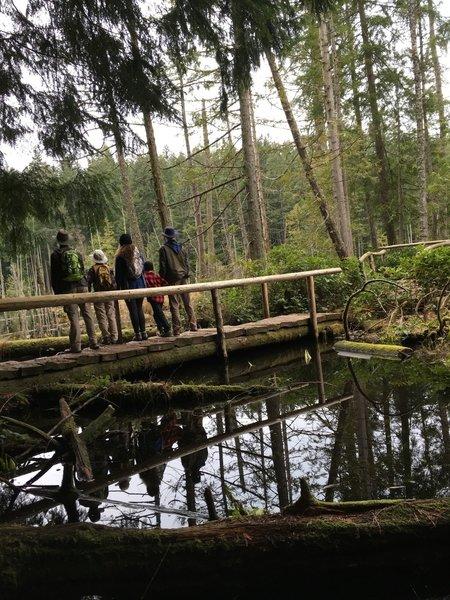 Hikers on the bridge.