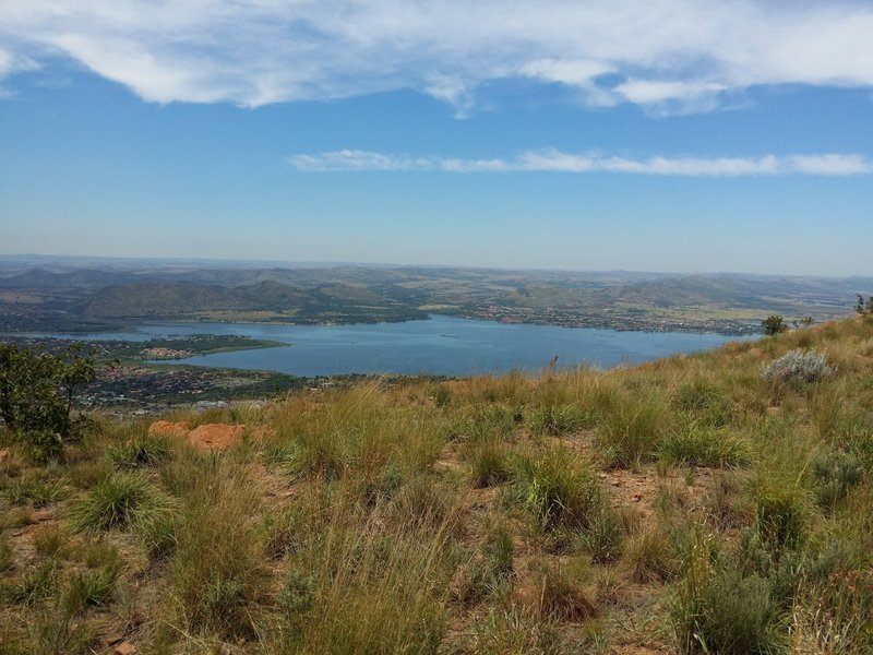 A view of the Hartebeespoort dam from the northern slopes of the Magaliesberg mountain range.
