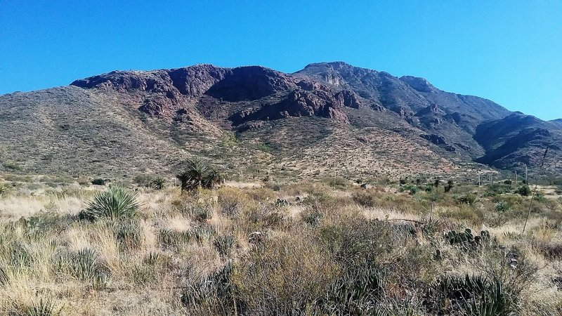 Looking east from the trail towards the Franklin Mountains