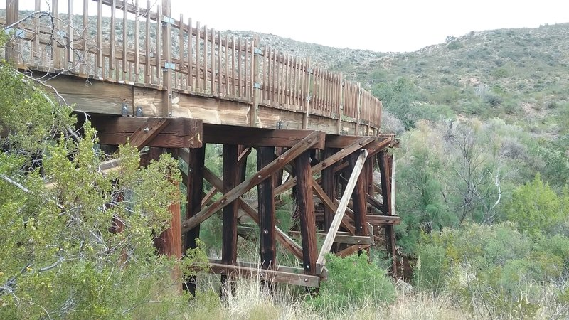 View of railroad trestle.