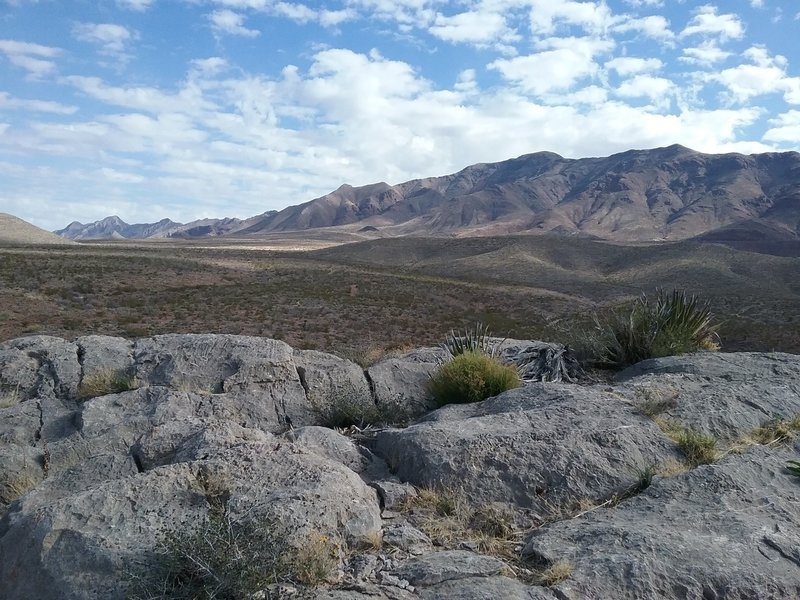 Looking east from the trail, view of  the Franklin Mountains