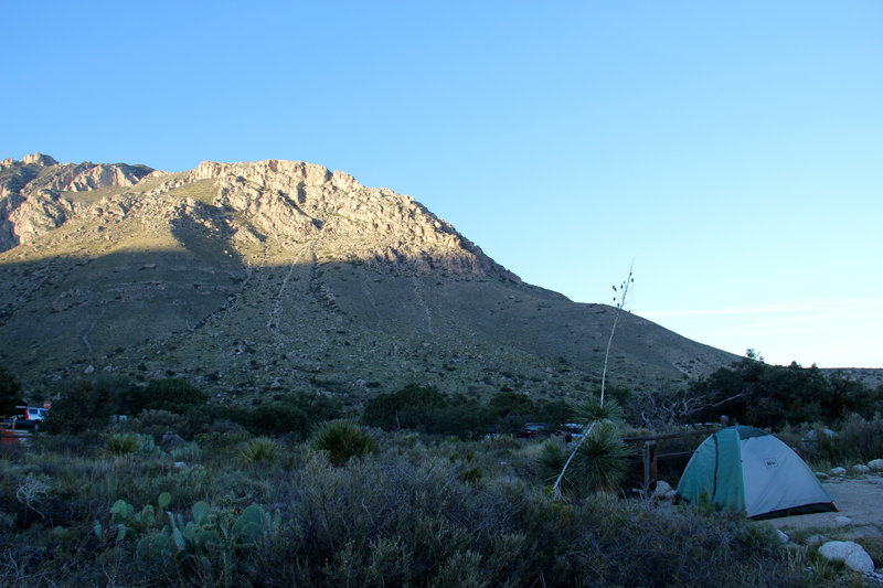 Setting up the camp at Guadalupe Mountains campground for second night.