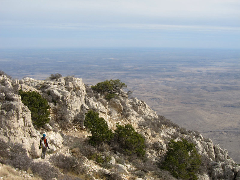 Hiker on Guadalupe Mountains National Park, Guadalupe Peak Trail.