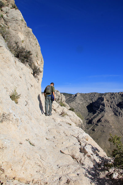 Cliff drop-offs by the Guadalupe Peak Trail.