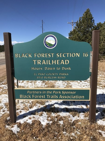 Black Forest Section 16 Trailhead