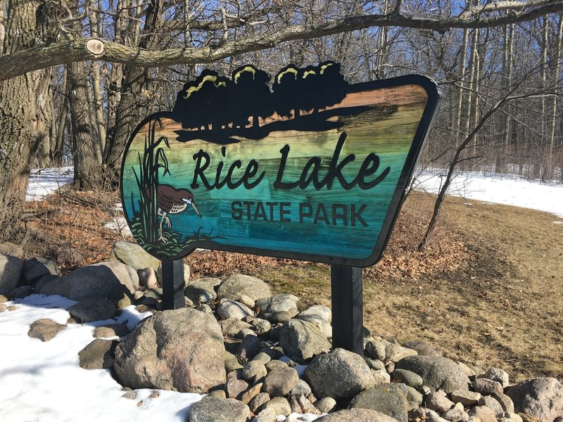 The sign at Rice Lake State Park