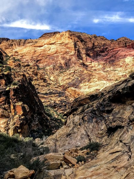 Huge sandstone walls in the canyon