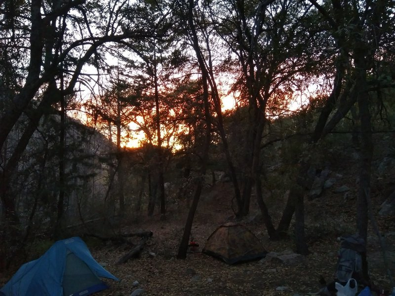 A beautiful sunset from Old Trail Camp on the Romero Canyon Trail