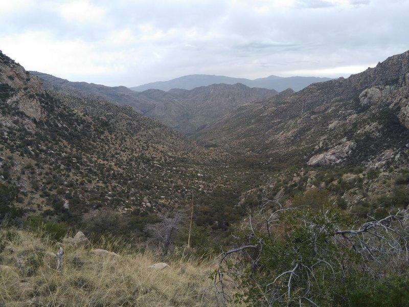 Looking southeast toward Hutch's Pool on the climb up to Romero Saddle