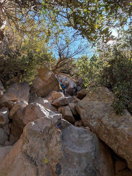 Climb up following the basin.