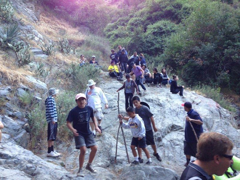 The crowd at Fish Canyon waterfall