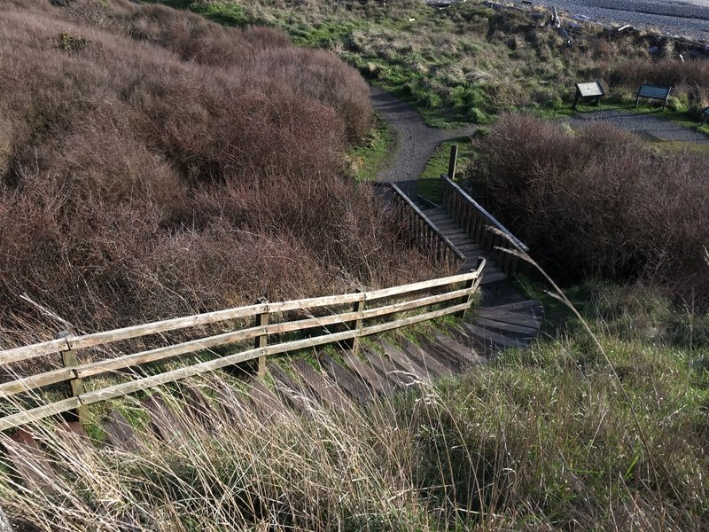 Stairs leading up/down the bluff.
