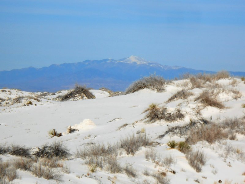 View of Dunes and Sierra Blanca with snow.