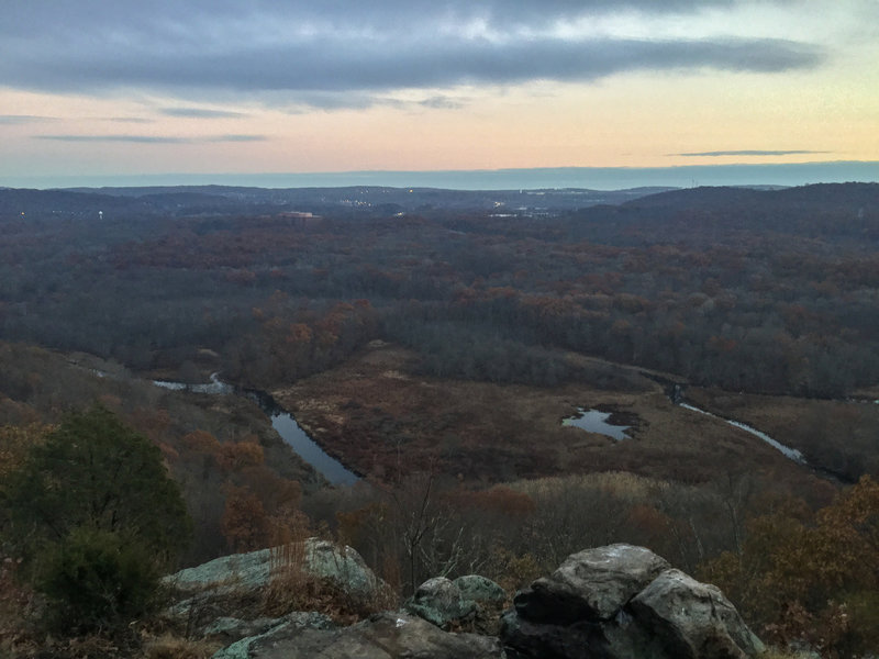 Panorama from trail at sunset