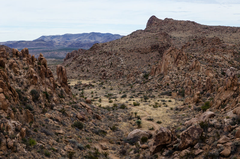 looking back on the trail from the higher elevation