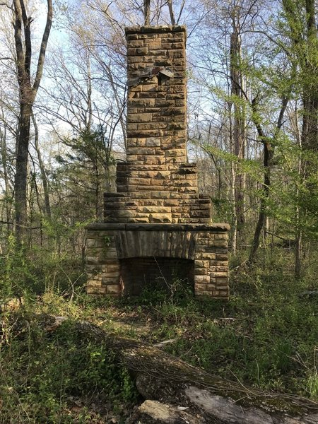 One of the chimneys left where a 1930s era shelter was. About a half mile from the starting point.