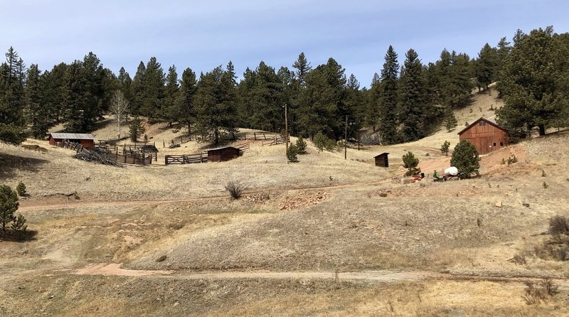 The barns and coral at the fork of Black Bear and Werley Ranch Trail